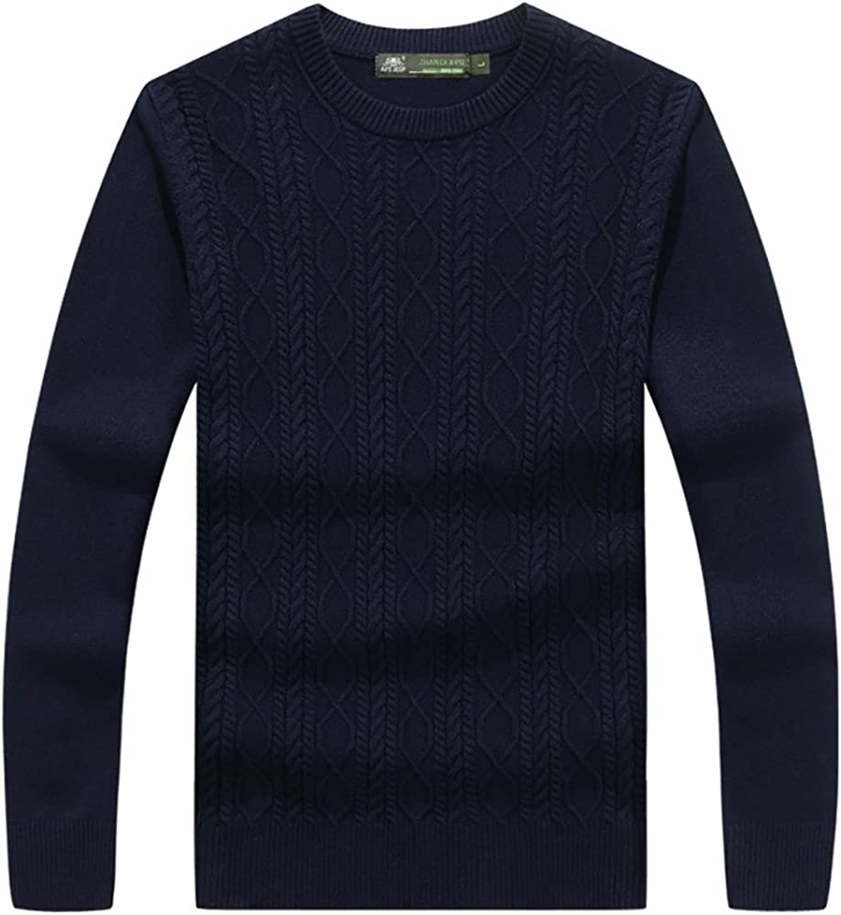 Insun Mens Solid Color Thick Crewn Neck Long Sleeve Pullover Sweater Navy 38