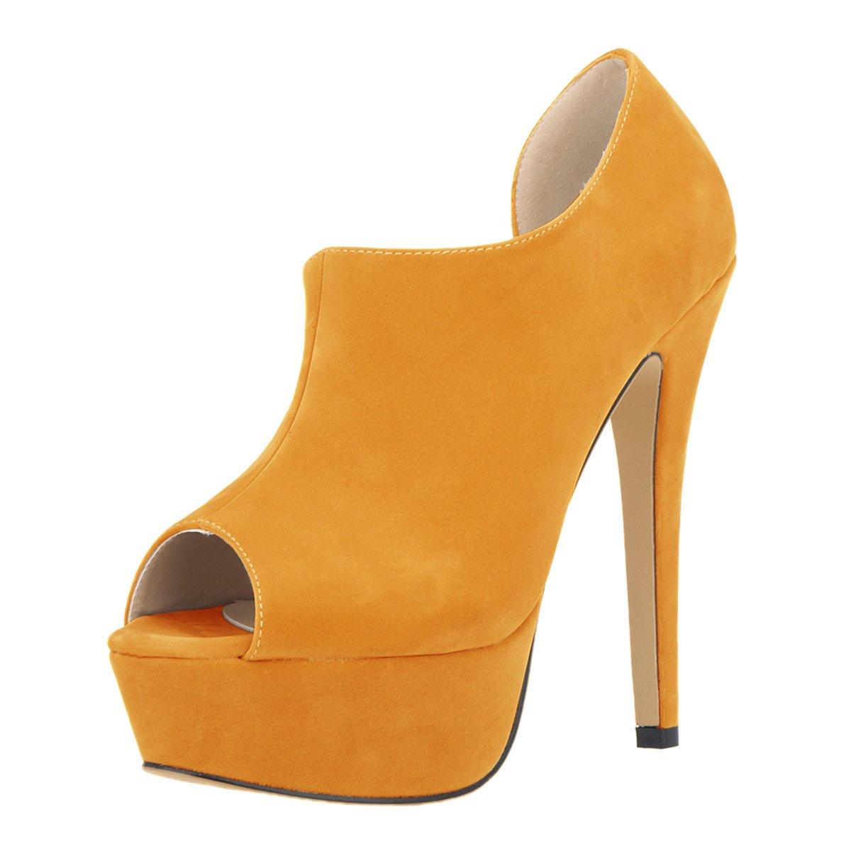 DYF Schuhe kurze Stiefel Stiefel Stiefel Farbe Größe Fisch Mund High Heel Wasserdicht Orange Fla 36 1b7a93