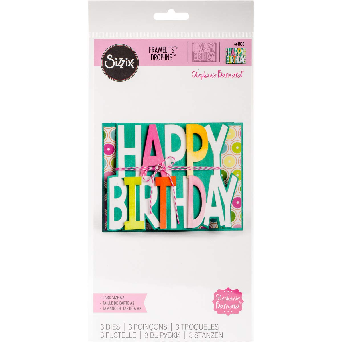 Sizzix HBday SB Framelits Die Card Drop-ins