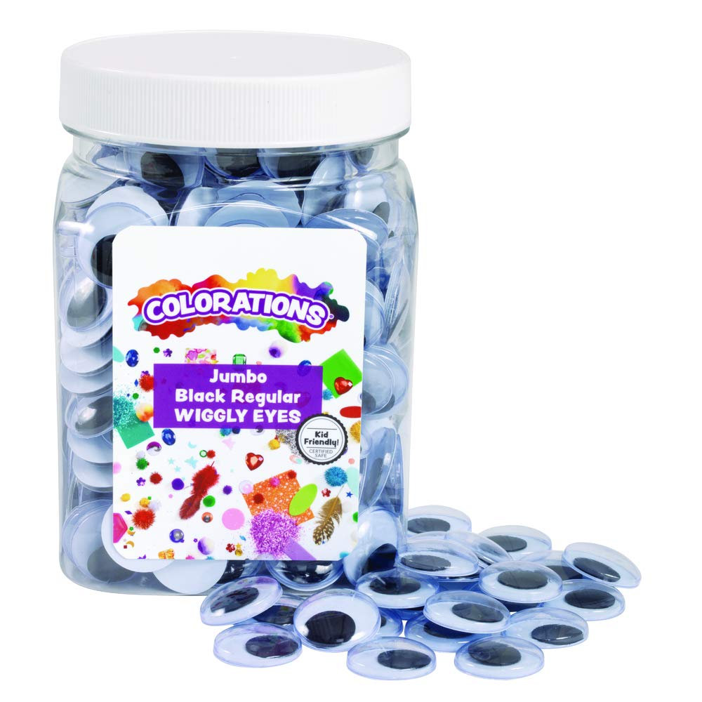 Colorations Jumbo Wiggly Googly Eyes, 300 Pieces in Jar, Storage, Black & White, 3/4 Inches Each, Arts & Crafts, for Kids (Item # WIDEYED) by Colorations