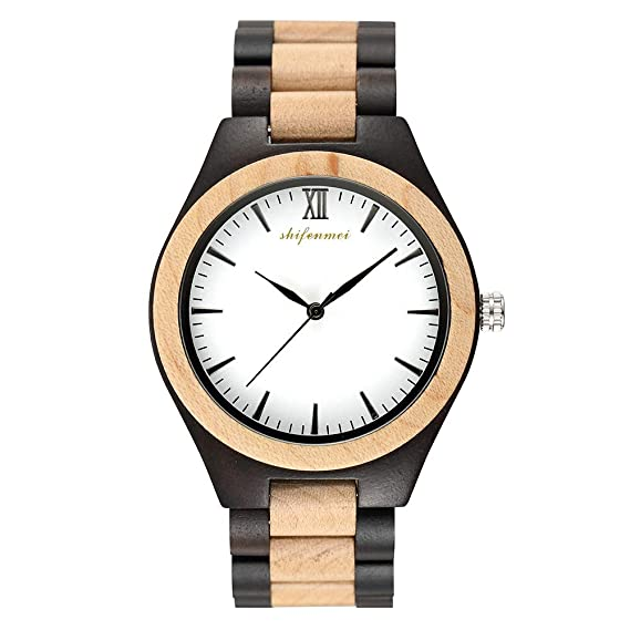 HWCOO Hermosos Relojes De Madera Reloj de Madera de sándalo de Mesa Reloj de Madera de Cuarzo de Zebra Wood Watch (Color : 2): Amazon.es: Relojes