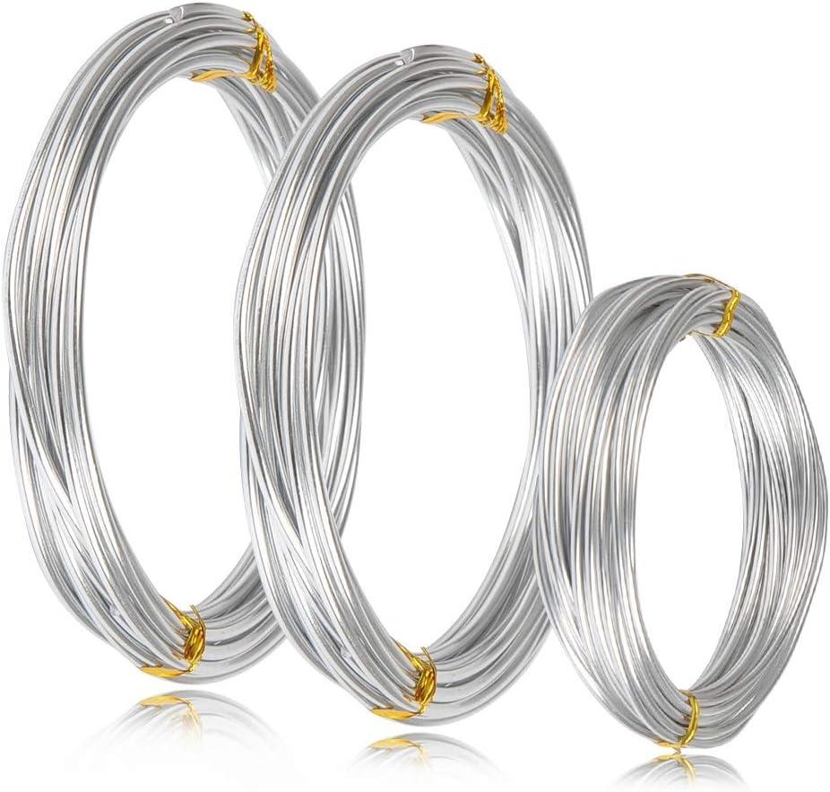 WOWOSS Rollos de Alambre de Aluminio 3 Tamaños (1 mm, 2 mm y 3 mm de grosor) Rollos de Alambre de Aluminio para Esculturas y Manualidades de Bricolaje, 3 Rollos, Cada Rollo 16.4 pies / 5 m