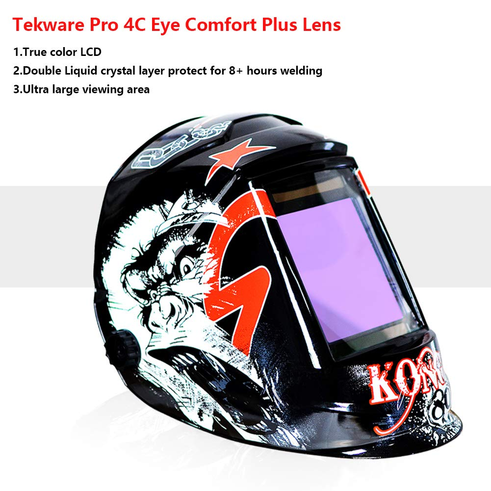 Tekware Welding Helmet 4C Lens Technology Solar Power Auto Darkening Hood True Color LCD Welder Mask Ultra Large Viewing Area Breathable Grinding Helmets with Adjustable Shade Range by Tekware (Image #2)