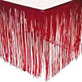GIFTEXPRESS 2 Pack Metallic Red Foil Fringe Table Skirts/Tinsel Foil Table Skirt/Party Table Skirt (Red, 2)