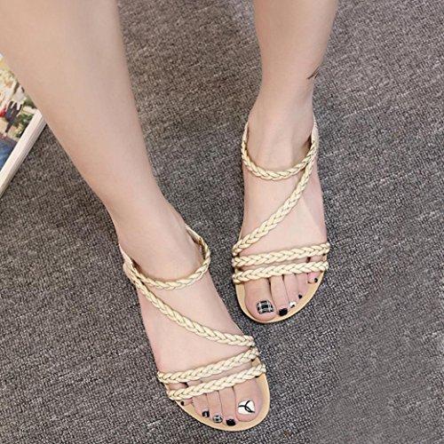 Jamicy Women Stylish Weave Design Summer Beach Flat Sandals Shoes Beige azu9t4