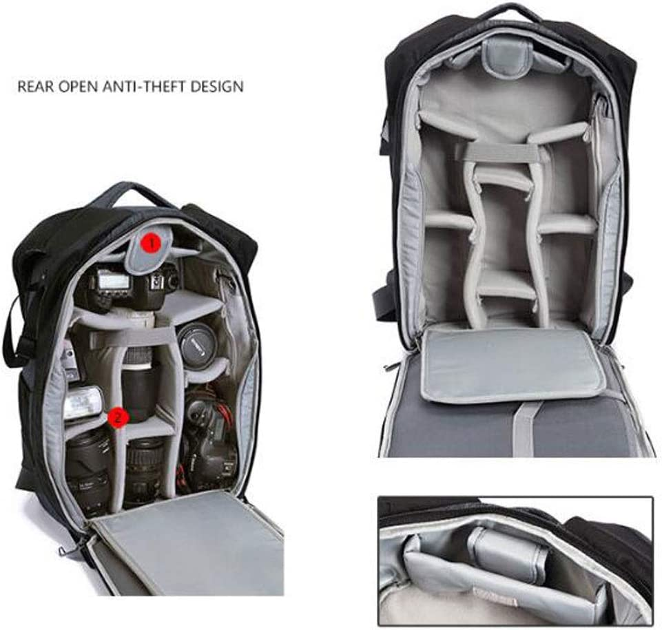 Color : Gray Lens and Accessories Flash Camera Case Backpack Laptops Waterproof Camera Bag with Tripod Strap and Rain Cover for Digital SLR Camera