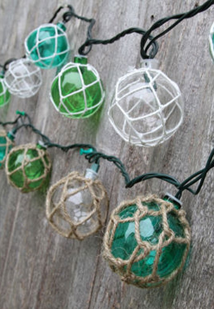 nautical retro glass style buoy float plastic string lights assorted