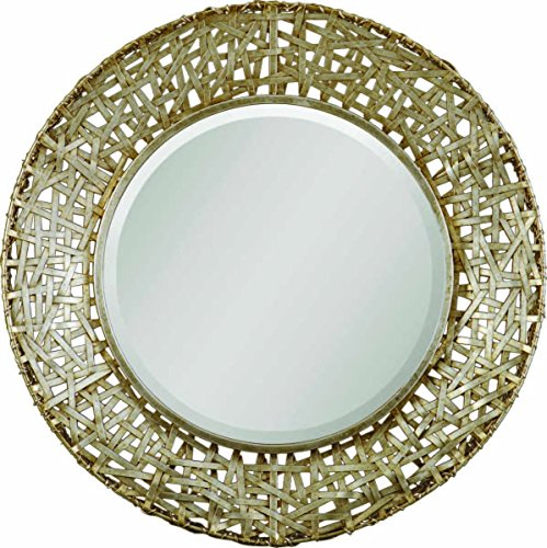 Vhomes Lights Champagne Woven Metal Mirror The Alita Collection Modern Round Sunburst Mirrors