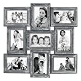 Hello Laura 9 Opening 18'' x 18'' inch Wall Hanging Photo Frame, 4 x 6 inch Photo Sockets x 9, Black Frame Edge | Gallery Style
