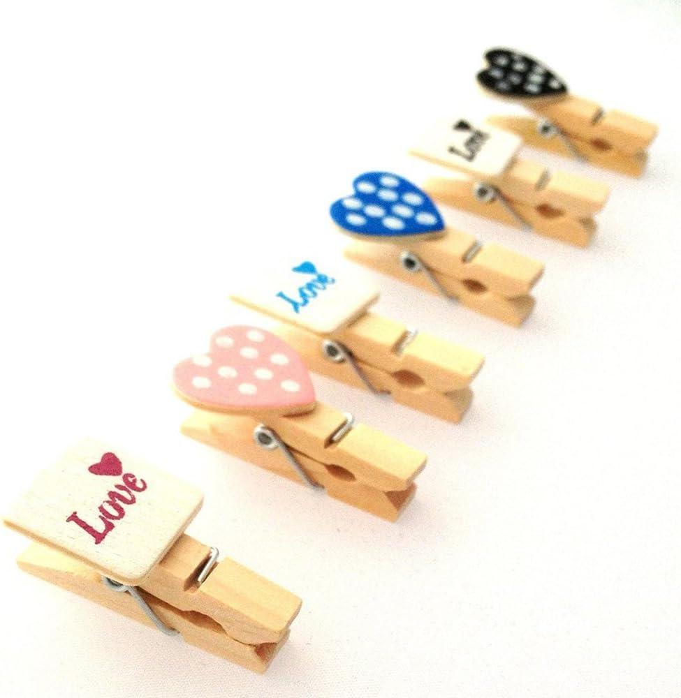 Lumanuby 12X Clips Photo en bois Mini Pince a Linge Papier Photo Craft DIY clip pour d/écor la Saint Valentin No/ël Anniversaire F/ête Mariage avec Ficelle de Jute
