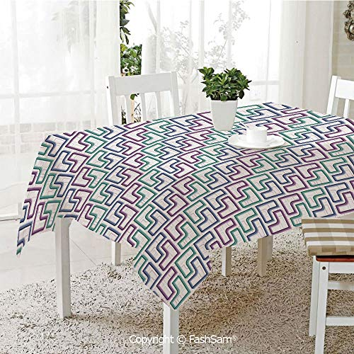 AmaUncle Premium Waterproof Table Cover Trippy Tiles Maze Branching Path Puzzle Style Motif Table Protectors for Family Dinners (W55 xL72)]()
