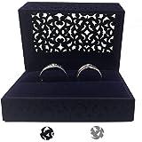 DesignSter Hollow Royal Blue Velvet Ring Box - Couple Double Ring Bearer Box for Wedding, Engagement Gift Favor (Dark Blue)