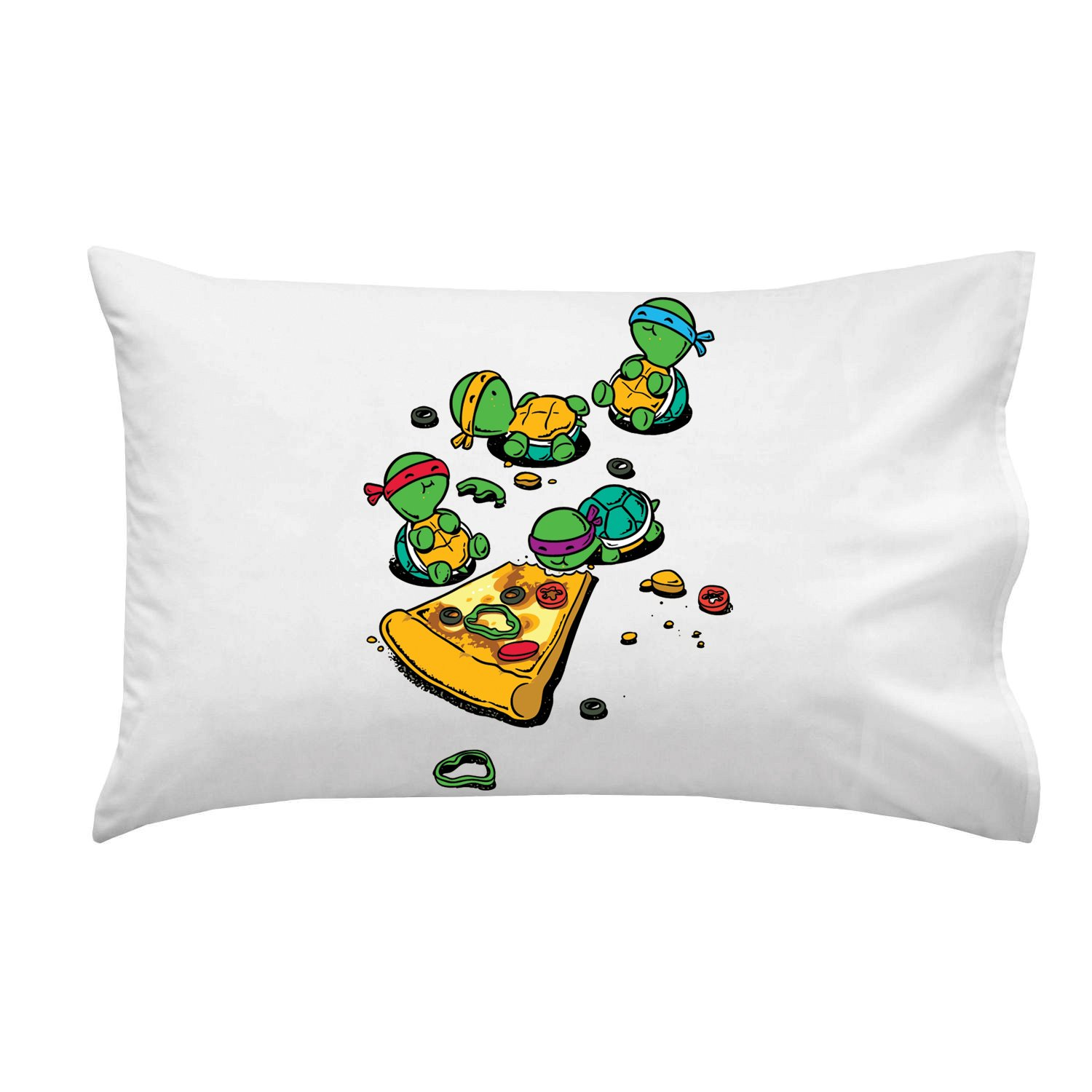 ''Pizza Lover'' TV Show Cartoon Movie Parody w/ Turtles Eating Pizza - Pillow Case Single Pillowcase