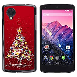 YOYO Slim PC / Aluminium Case Cover Armor Shell Portection //Christmas Holiday Red Star Tree 1192 //LG Google Nexus 5