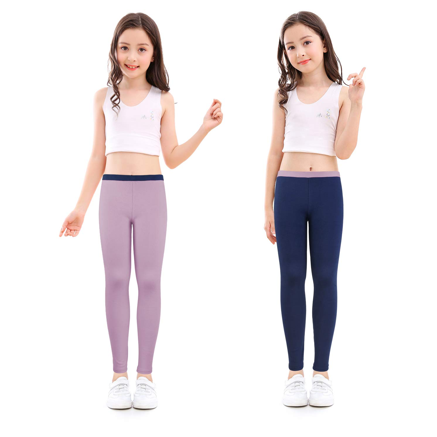 slaixiu Cotton Ankle Length Girls Leggings Stretchy Kids Pants 3-12y(GP04_Navy&Purple_130)