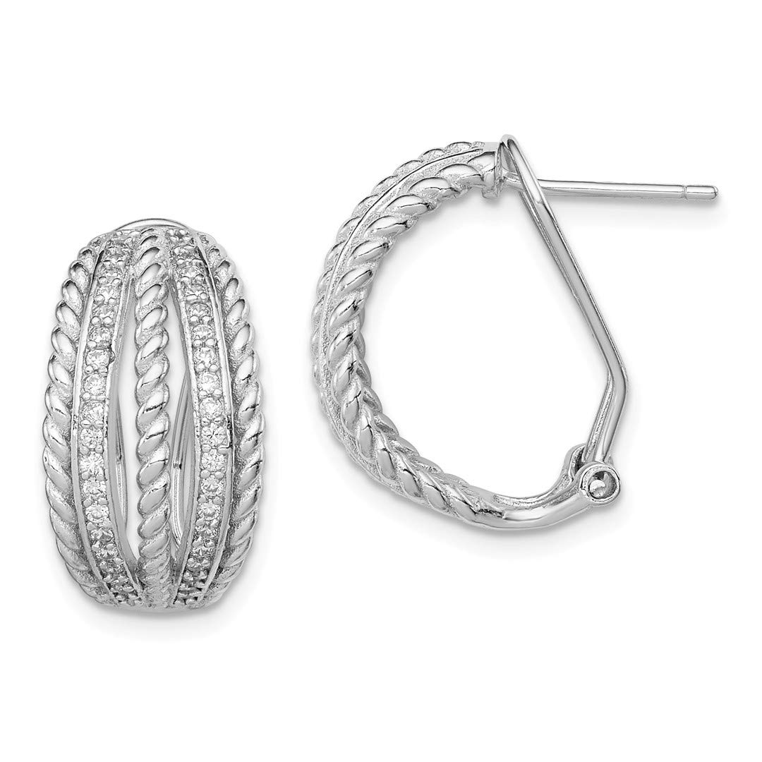 ICE CARATS 925 Sterling Silver Cubic Zirconia Cz Rope Omega Back Ball Button Stud Earrings Fine Jewelry Ideal Gifts For Women Gift Set From Heart