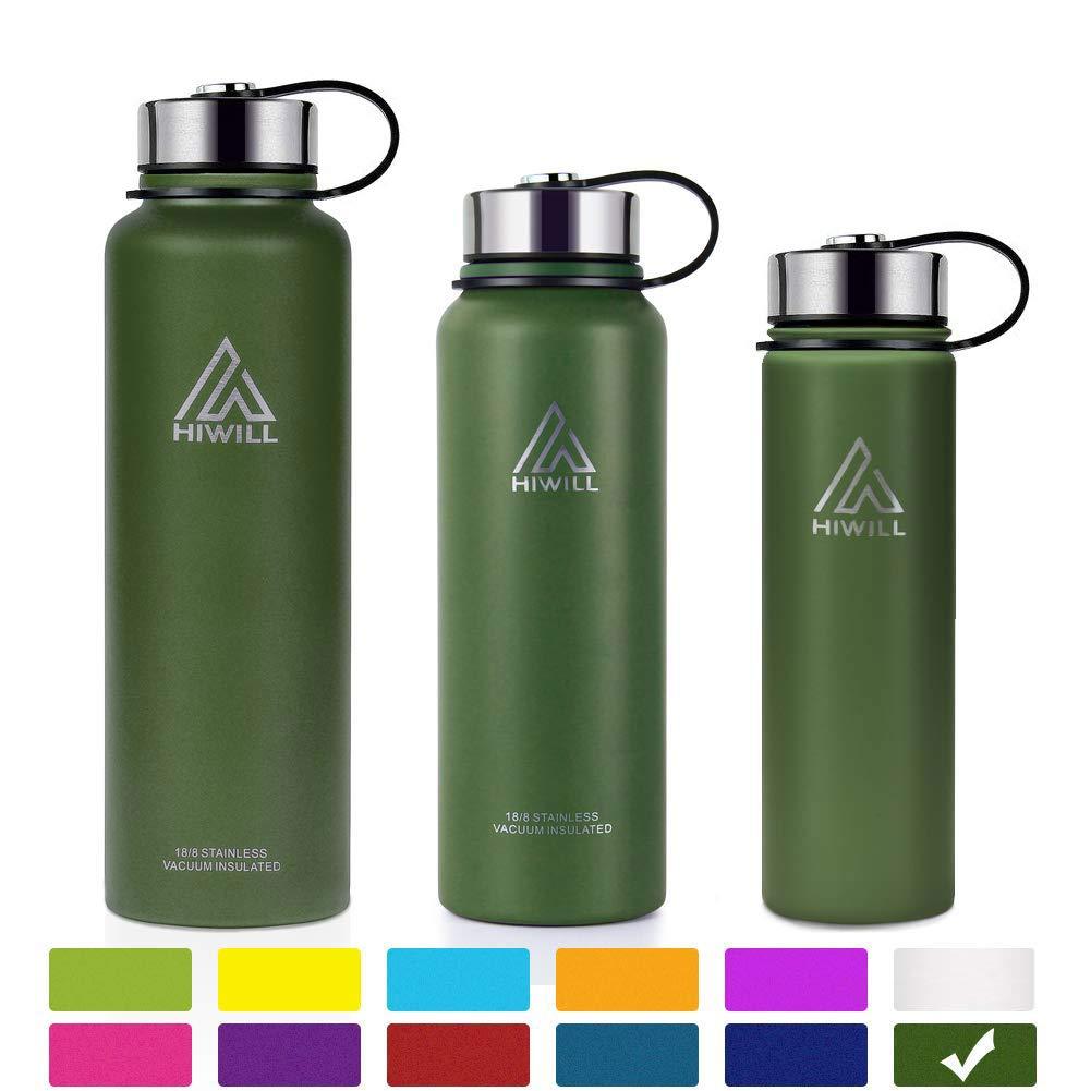 50オンス、37オンス、27オンス、21オンスステンレススチール真空断熱水ボトル、Wide Mouth with漏れ防止キャップと内蔵フィルタ B07GRPWTD1 50oz|Army Green( 2 lids ) Army Green( 2 lids ) 50oz