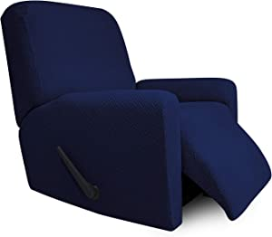 Easy-Going Stretch Jacquard Recliner Couch Cover, 4-Piece Soft Sofa Cover, Sofa Slipcover with Elastic Loop, Washable Furniture Protector for Kids, Pets, Dogs, Cats ( Recliner, Navy)