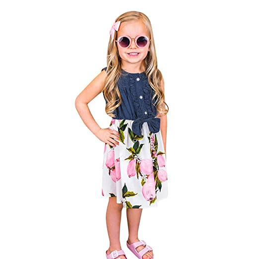 26975f8aa70 Amazon.com  Vicbovo Clearance Kids Toddler Baby Girls Denim Lemon Patchwork  Sleeveless Casual Princess Summer Short Desses  Clothing
