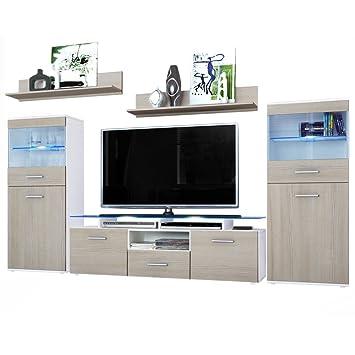Wohnzimmer Wohnwand Anbauwand Schrankwand Almada, Korpus in Weiß ...