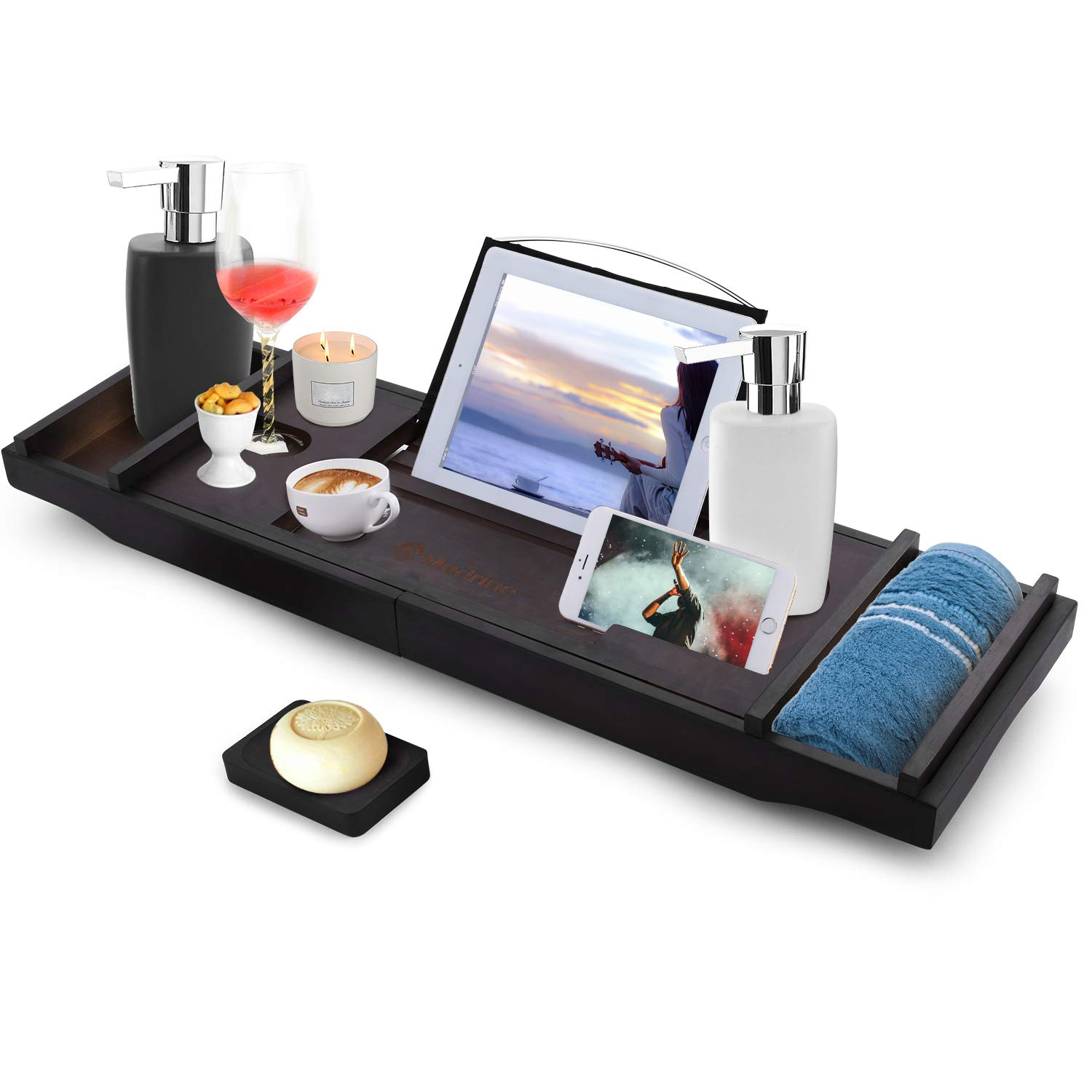 Modrine Expandable Bamboo Bathtub Caddy - Adjustable Wooden Serving Tray and Organizer for Any Size Bathtub - Phone and Tablet Compartments -Wine holder bathtub tray Brown
