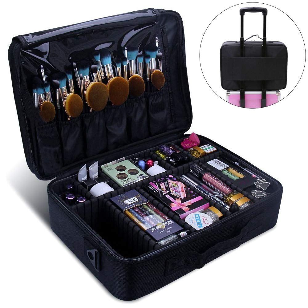 Relavel Makeup Train Case 3 Layer Large Size Professional Cosmetic Organizer Make Up Artist Box with Adjustable Shoulder (Large Black)