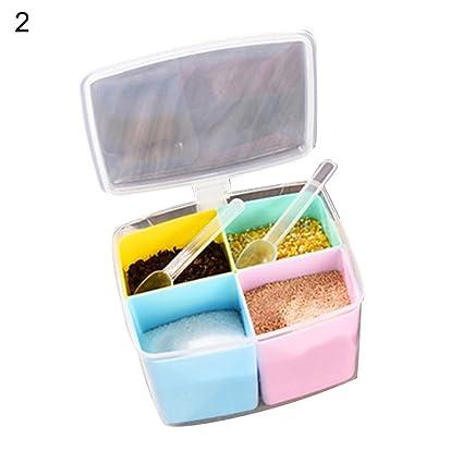 Caja de condimento extraíble para especias con soporte para dispensador de aceites de sal y pimienta