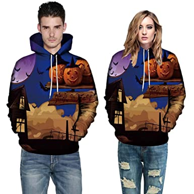 5f9de5af14 Amazon.com: Makeupstore 2019 Plus Size Halloween Costumes,Men Women Mode 3D  Print Long Sleeve Halloween Couples Hoodies Top Blouse Shirts: Clothing