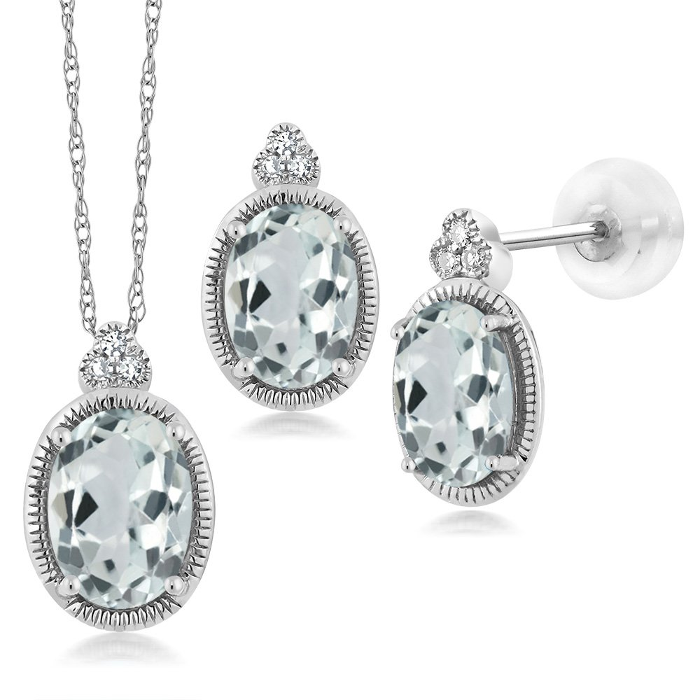 1.64 Ct Oval Sky Blue Aquamarine and Diamond 10K White Gold Pendant Earrings Set by Gem Stone King (Image #1)