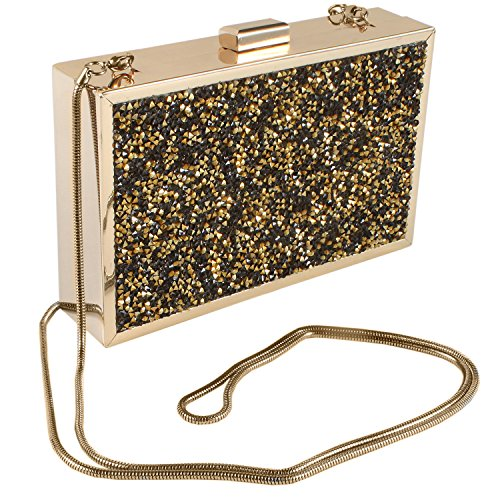 Paul Peugeot 3D Crystal Clustered Evening Clutch Bag, Crossbody Bag with Chain -