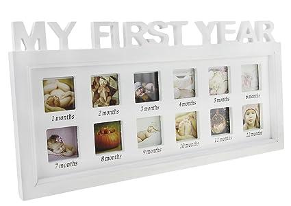 Marco de fotos bebé mi Premiere año cumpleaños con 12 fotos de mesa o para colgar conjunto de marco de madera (crecimiento recuerdos precioso regalo ...