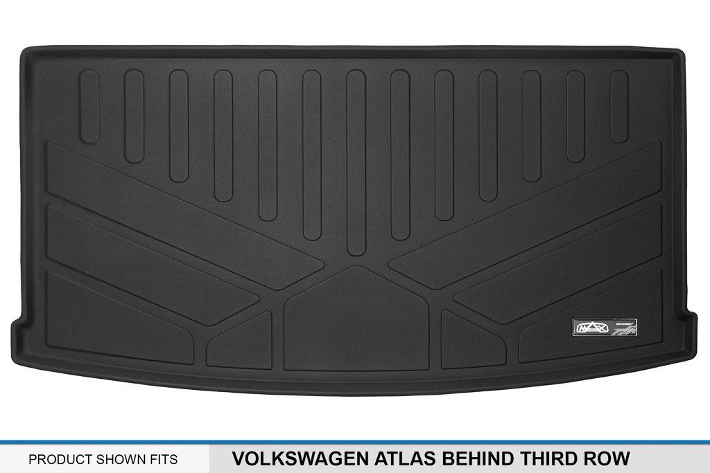 MAX LINER E0300 All Weather Custom Fit Cargo Trunk Liner Floor Mat Behind 3rd Row Black for 2018-2019 Volkswagen Atlas