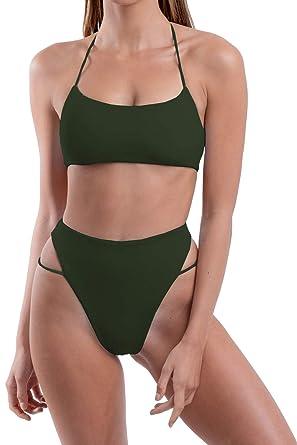 b3ce284f74a72 Roevite Women s High Cut High Waisted Cheeky Bikini Set Swimsuit S Army  Green