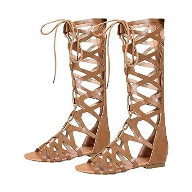 Le Genou Plat Romain Haute Juleya Peep Toe Chaussures Gladiateur Plage Éclair Femme Strappy Été Fermeture Décontractée Sandales 5RLA34j