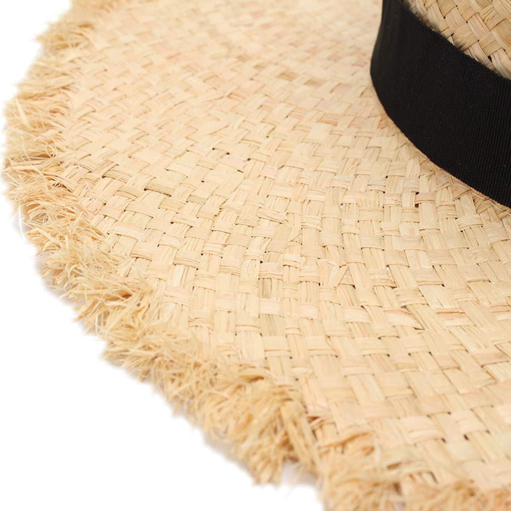 Black Ribbon Raffia Straw Summer Sun Visor Hats for Women Lady Foldable Fashion Handmade Cap Wide Brim Panama Beach Hat