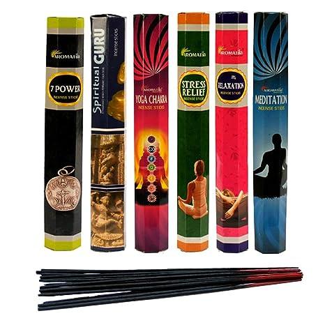 Aromatika Best Seller Hexa Combo Pack C (6 Boxes X 20 Sticks=120 Sticks) Incense Sticks Spiritual Guru,Yoga Chakra,7 Power,Stress ...