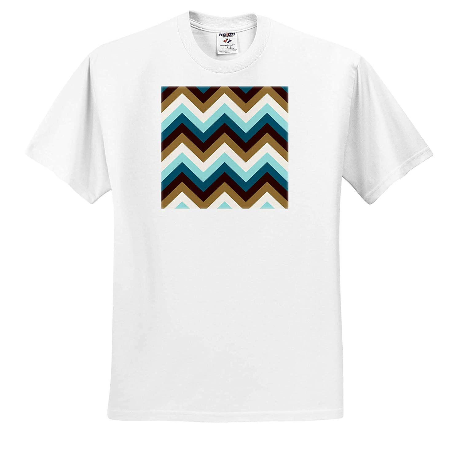 Brown and Cream Color Faux Gold Color Zigzag Pattern in teals - T-Shirts 3dRose Natalie Paskell Zigzags