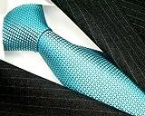 LORENZO CANA Italian 100% Silk Tie Jacquard Woven Lightblue Turquoise 84404