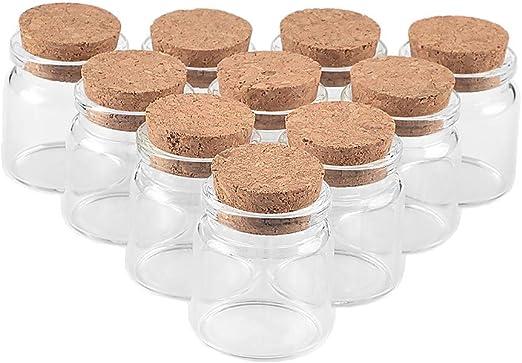 Jarvials 12pcs 20ml Mini Transparent Botellas de Cristal Tapon ...