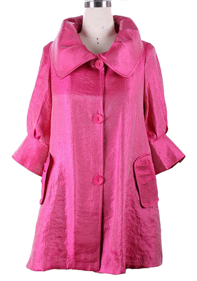 ''The Swing Jacket'' - Fun & Flattering Fashion - Style 200 by Damee NYC - Fuschia-small