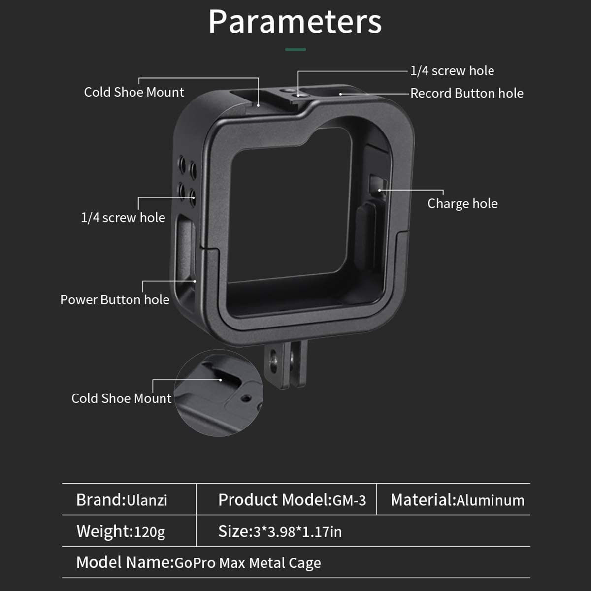 Ulanzi Aluminum Cage for Gopro Max Protective Metal Case Frame Mount w Cold Shoe Mount for LED Light for GoPro Max