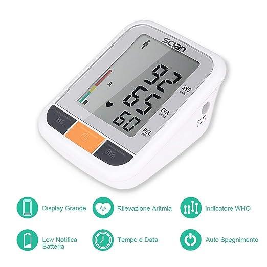 bakaji medidor de presión sanguínea Digital de brazo tensiómetro Profesional Electrónico Automático con pantalla LCD y Gestión 2 Usuarios con 90 espacios ...