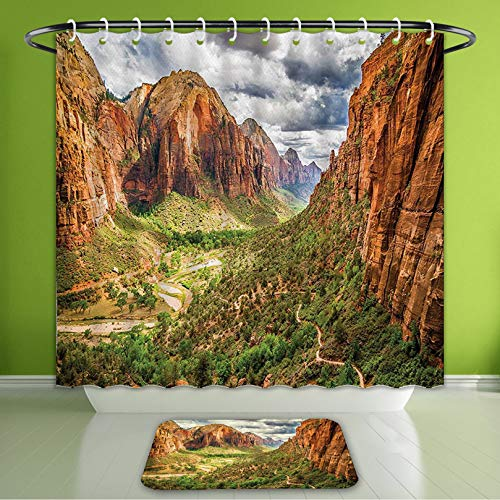 (Waterproof Shower Curtain and Bath Rug Set National Parks Utah Plateau Mojave Desert Southwest Erosion Navajo Artprint Brown Green Bath Curtain and Doormat Suit for Bathroom 72