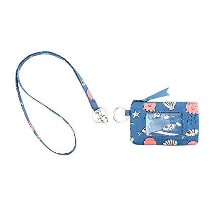 a385493bfeee Leanoria Womens Lanyard with Wallet Zip ID Card Case Badge Holder Office  Lanyards (Blue Sea Star)