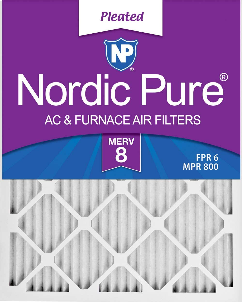 12x20x1 Pleated MERV 8 Air Filters 6 Pack