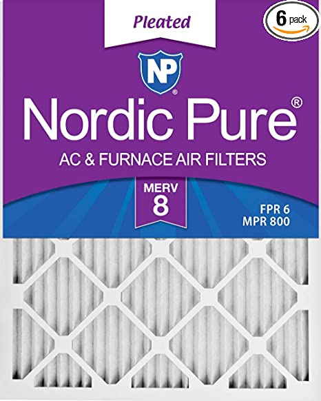 Nordic Pure 16x25x1 MERV 8 Pleated AC Furnace Air Filters 6 Pack