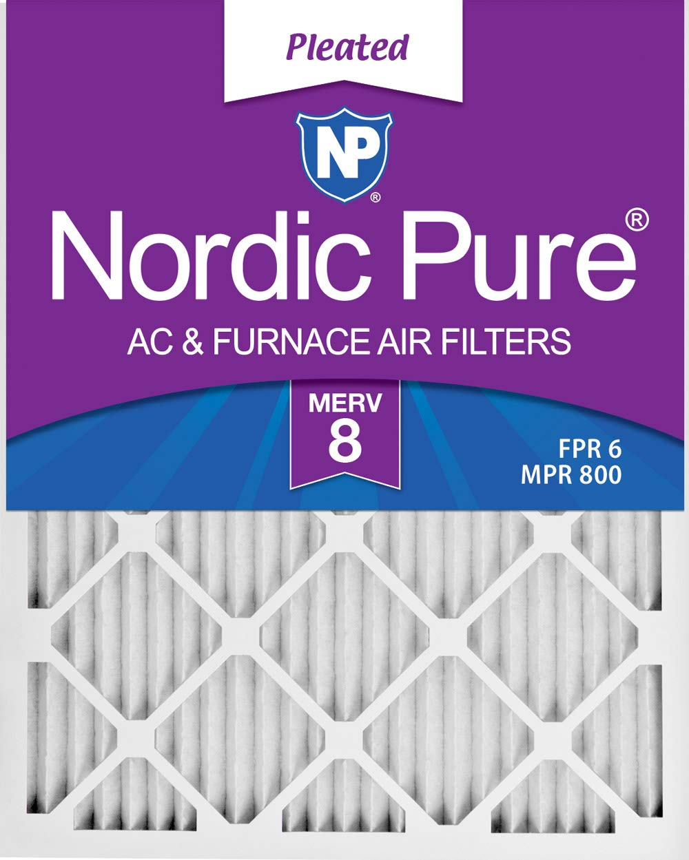 Nordic Pure 20x25x1 MERV 8 Pleated AC Furnace Air Filters