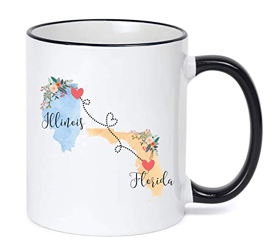 Pennsylvania Illinois Mug State to State Coffee Cup Gift Two State Mug Best Friend Mom Girlfriend Aunt Grandma Birthday Mothers Day Going Away Present Moving New Job Gifts