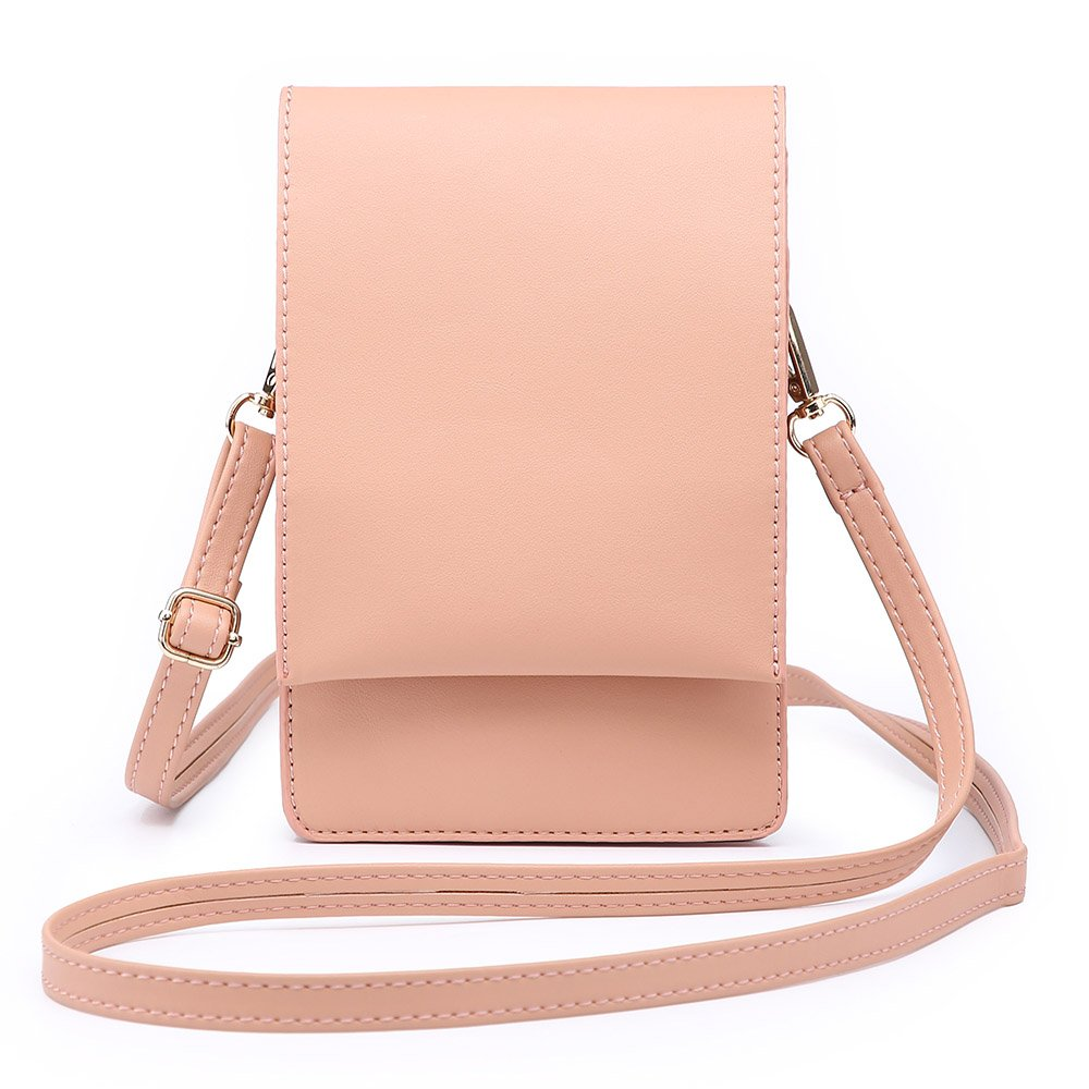 Shomico Women Small Crossbody Purse Cell Phone Pouch Wallet Shoulder Bag For 6 Inches (Kay Pink)
