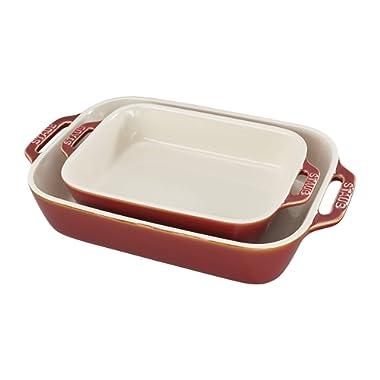 Staub 40511-923 Ceramics Rectangular Baking Dish Set, 2-piece, Rustic Red